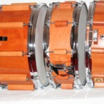 "left to right: snaredrum classic pear, 14x8"", snaredrum classic pear, 14x5""; snaredrum classic pear, 14x4"", steelhoops"