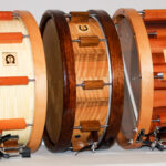left select classic maple 14x 5,5 middle select nut 14x5 right select classic pear 14x6 with doublestrainer system woodhoops and kalfoheads